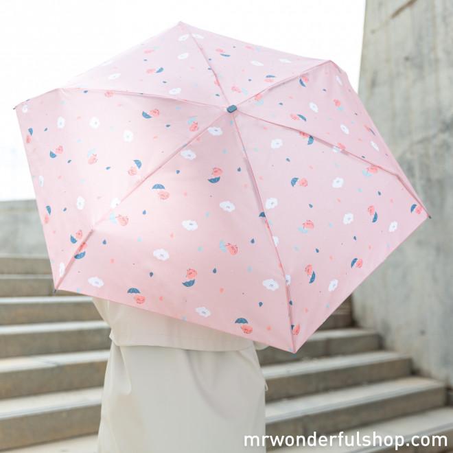 Paraguas pequeño rosa - Estampado corazones y nubes