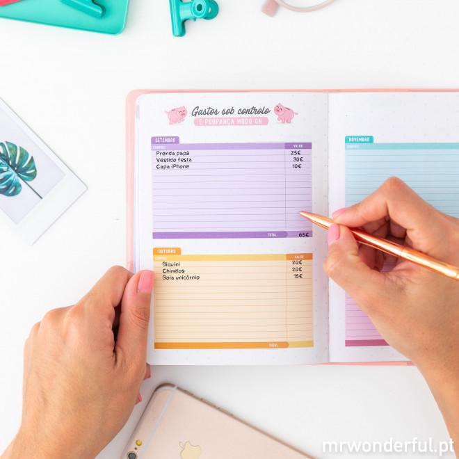 Agenda anual clássica pequena 2020 Vista semanal