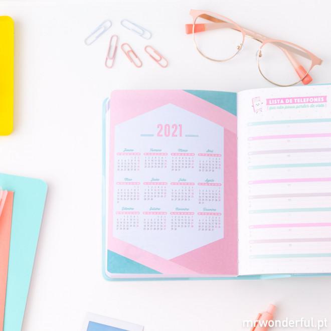 Agenda anual clássica pequena 2020 Vista diária