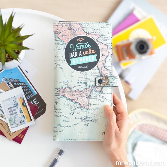 Porta-documentos de viagem - Vamos dar a volta ao mundo