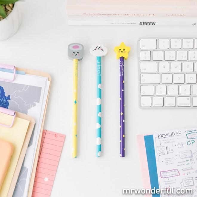 Pack de lápis com borrachas com formas