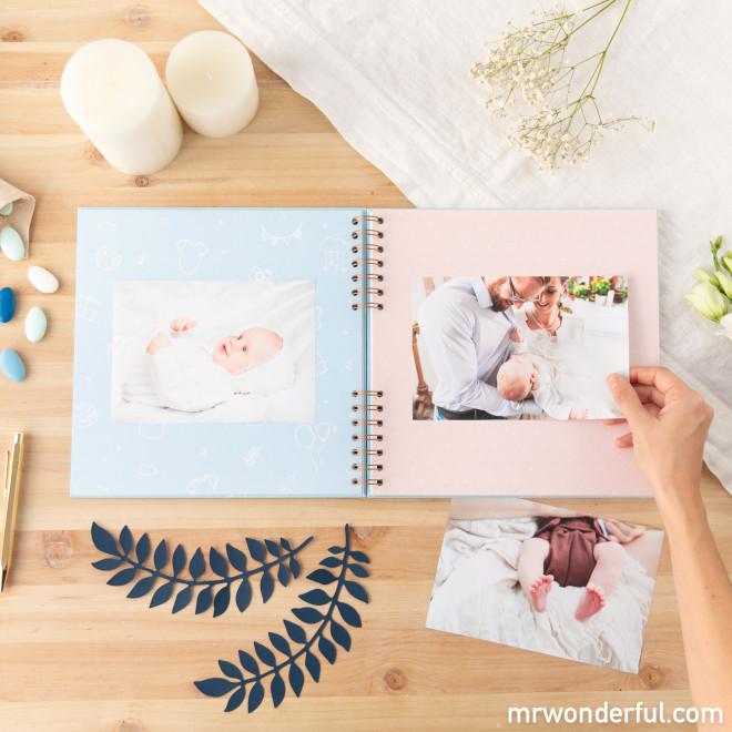 Álbum de fotos azul - Um dia inesquecível: o meu batizado