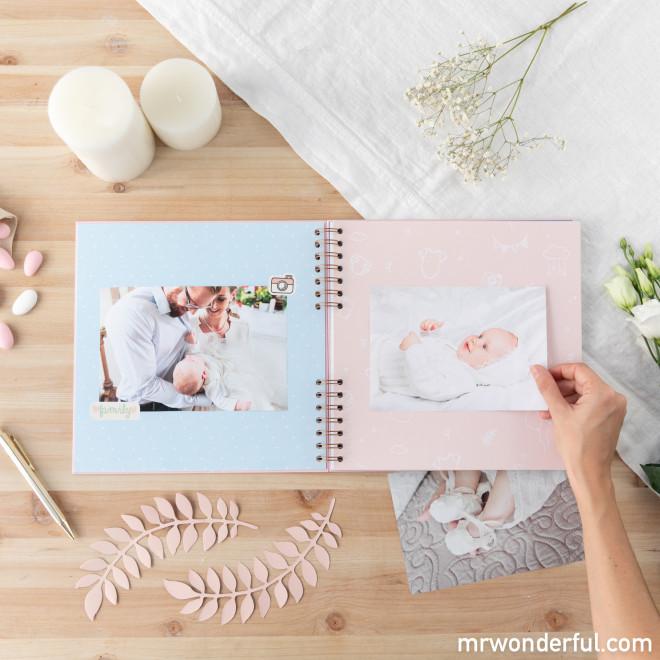 Álbum de fotos rosa - Um dia inesquecível: o meu batizado