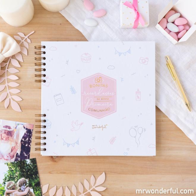 Álbum de fotos rosa - Bonitas recordações da Primeira Comunhão