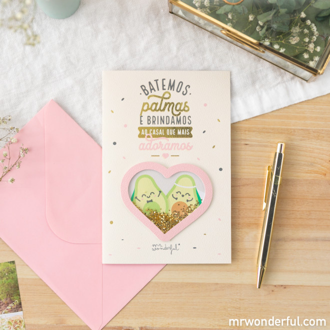 Postal - Batemos palmas e brindamos ao casal que mais adoramos