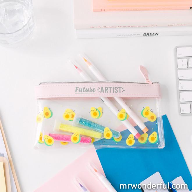 Transparent pencil case avocados - Future artist