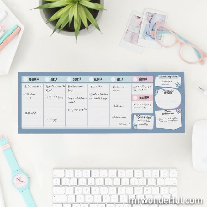 Organizador semanal estreito