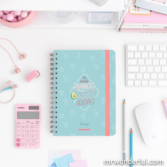Agenda clássica 2019-2020 Vista semanal - Os meus planos, projetos ideias