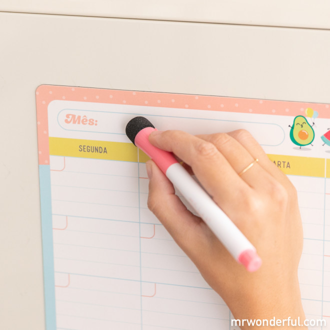 Planificador mensal tipo ardósia magnética