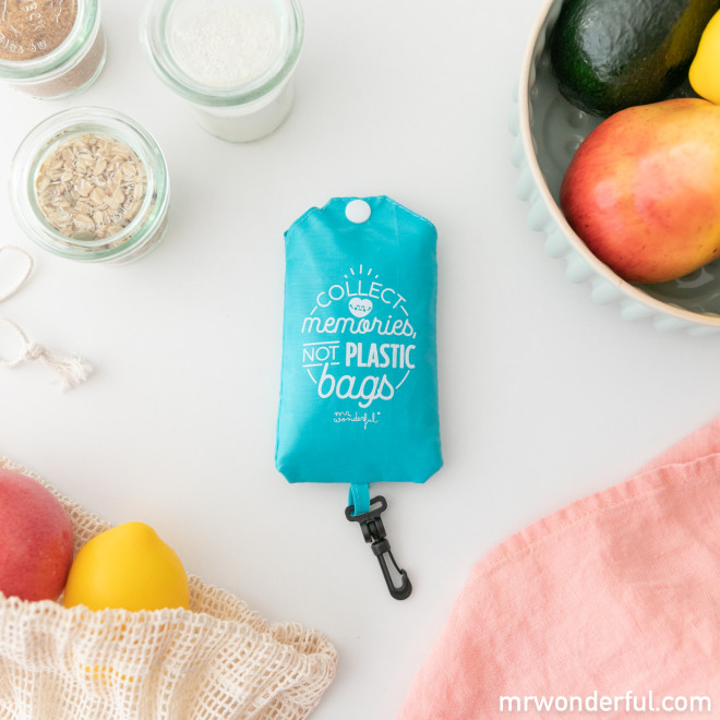 Bolsa de la compra plegable azul - Collect memories, not plastic bags