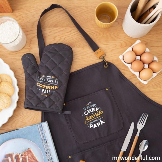 Avental + luva para forno - O nosso chef favorito chama-se papá