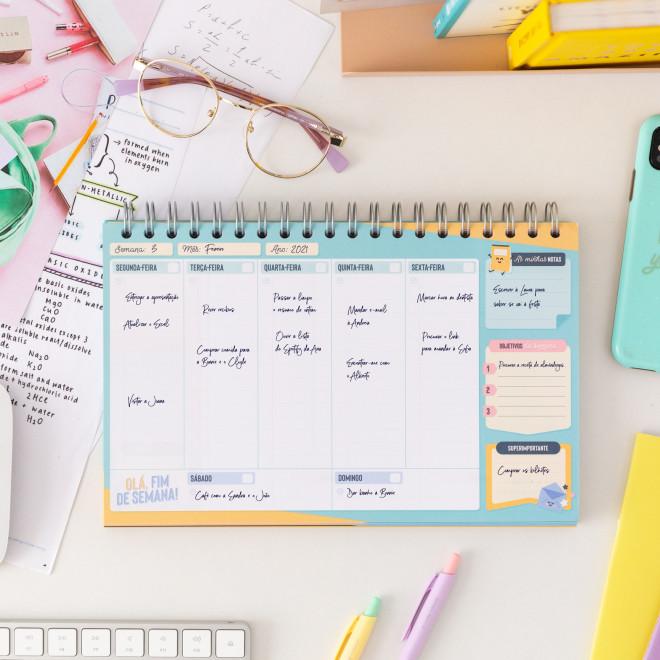 Organizador semanal - Os sonhos realizados começam aquí