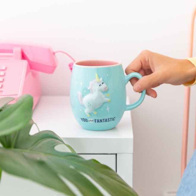 Mug with unicorn in relief - You are fantastic