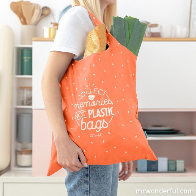 Bolsa de la compra plegable naranja - Collect memories, not plastic bags