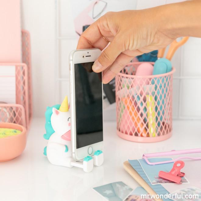 Soporte para Smartphone + cable USB - Unicornio