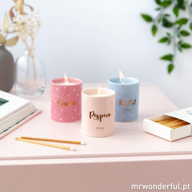 Set de 3 velas - Respira, relaxa e... brilha!