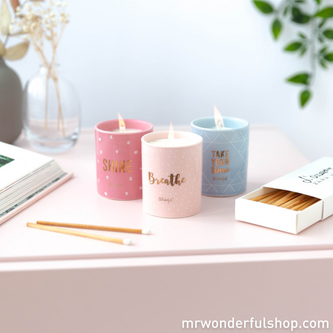 Set de 3 velas - Breathe, take your time and... shine! (ENG)
