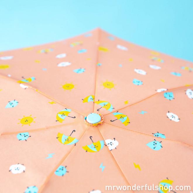 Guarda-chuva pequeno coral - Estampado com gotas