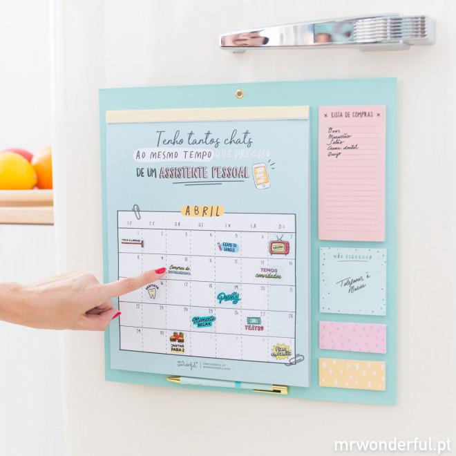Calendário magnético para frigorífico