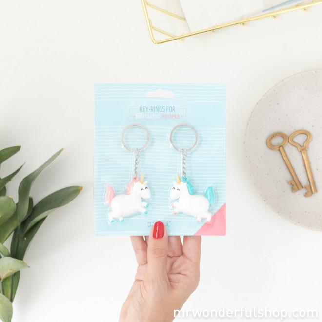 Conjunto de 2 porta-chaves unicórnio para pessoas fantásticas