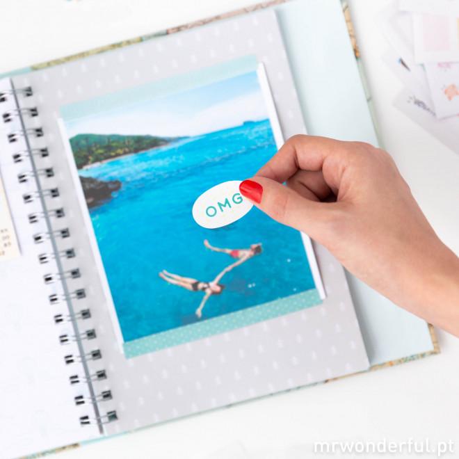 Kit scrapbooking álbum de viagem