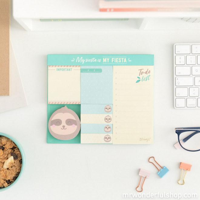 Set of sticky notes sloth Slow Collection