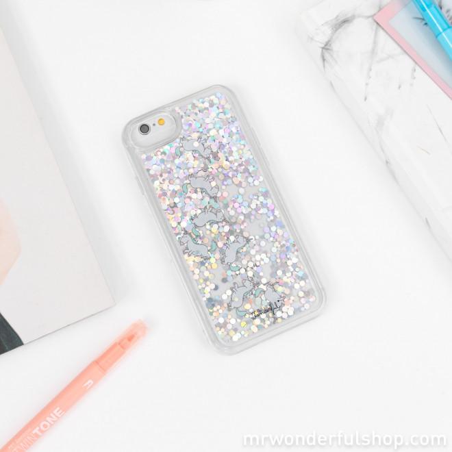 Capa transparente com purpurina para iPhone 6/7/8  - Unicórnios