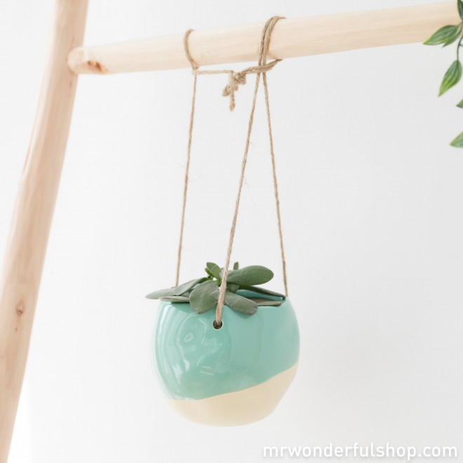 Vaso turquesa de cerâmica para pendurar