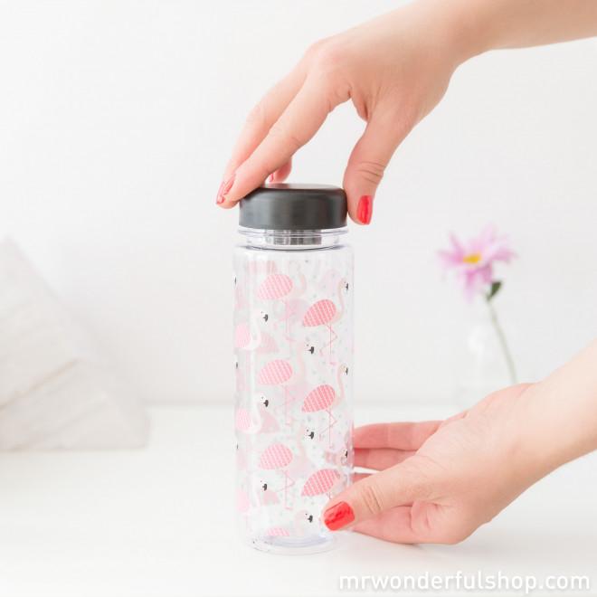 Botella de agua con diseño de flamencos