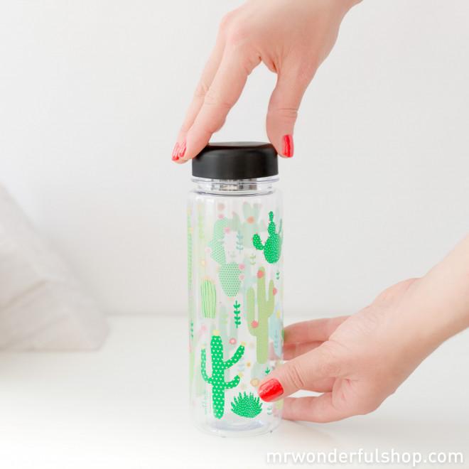 Botella de agua con diseño de cactus