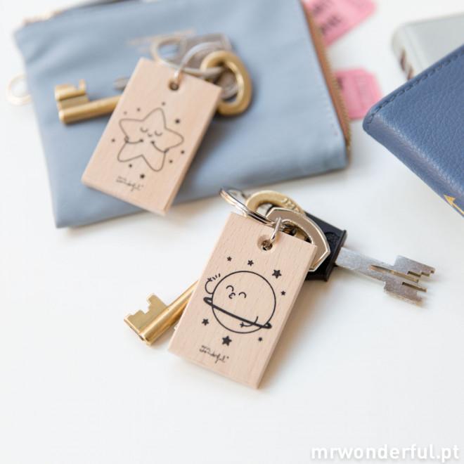 "Conjunto de 2 porta-chaves ""Estrela e planeta"""
