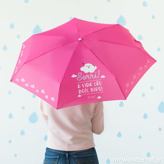Guarda-chuvas pequeno - Sorri! A vida são dois dia