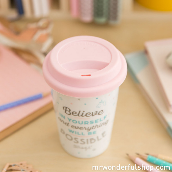 "Take away cup ""Believe in yourself and everything will be possible"" (ENG)"