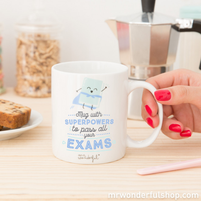 "Mug with ""Superpowers to pass all your exams"" (ENG)"