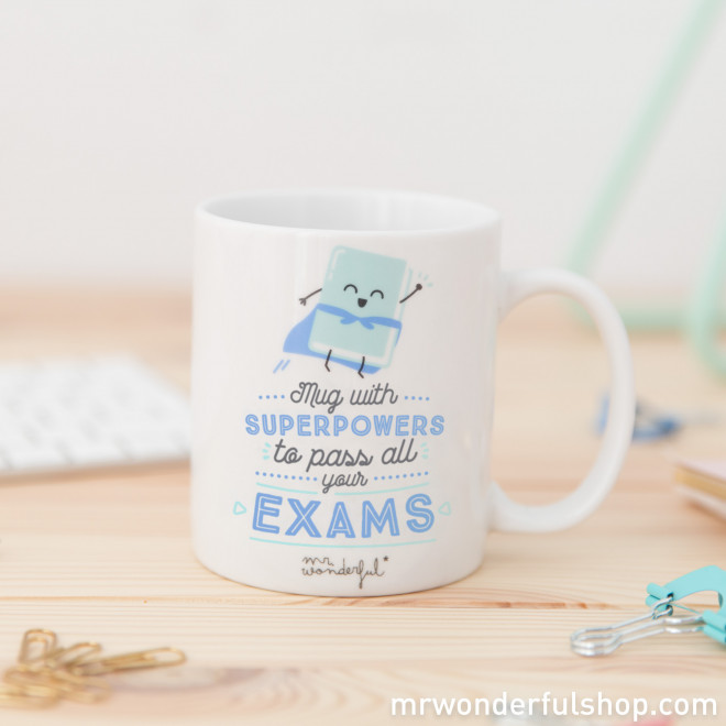 """Mug with """"Superpowers to pass all your exams"""" (ENG)"""