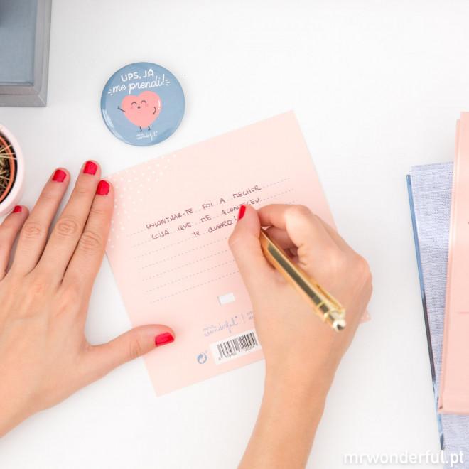 Postal e crachá - Posso me prender a ti para sempre? (PT)