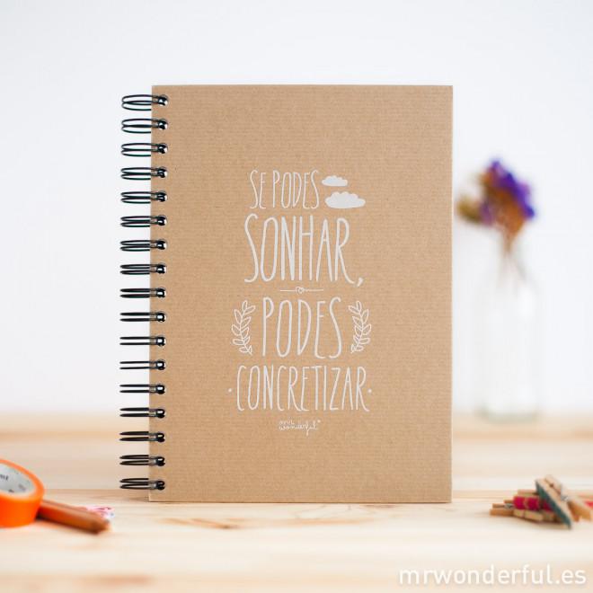"""Caderno """"Se podes sonhar podes concretizar"""" (PT)"""