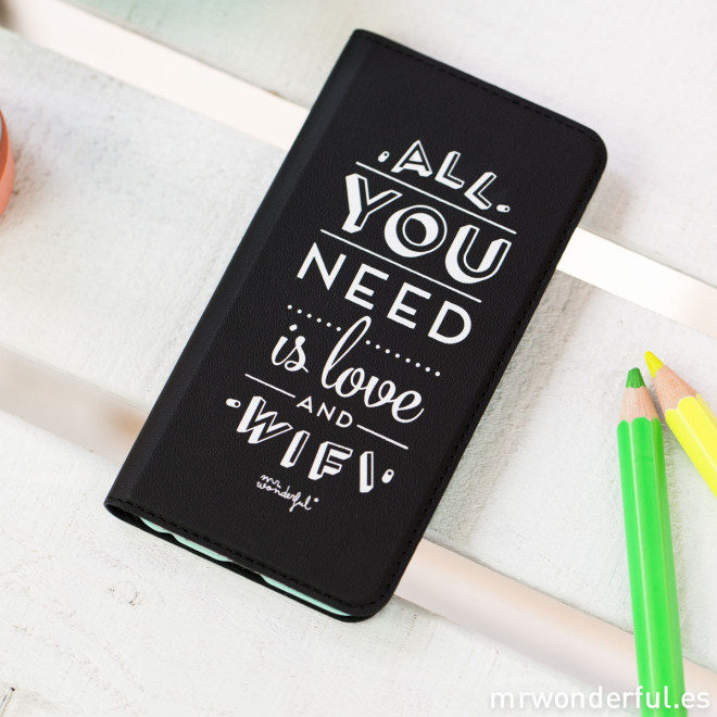 Capa livro para  iPhone 6 - All you need is love and Wifi