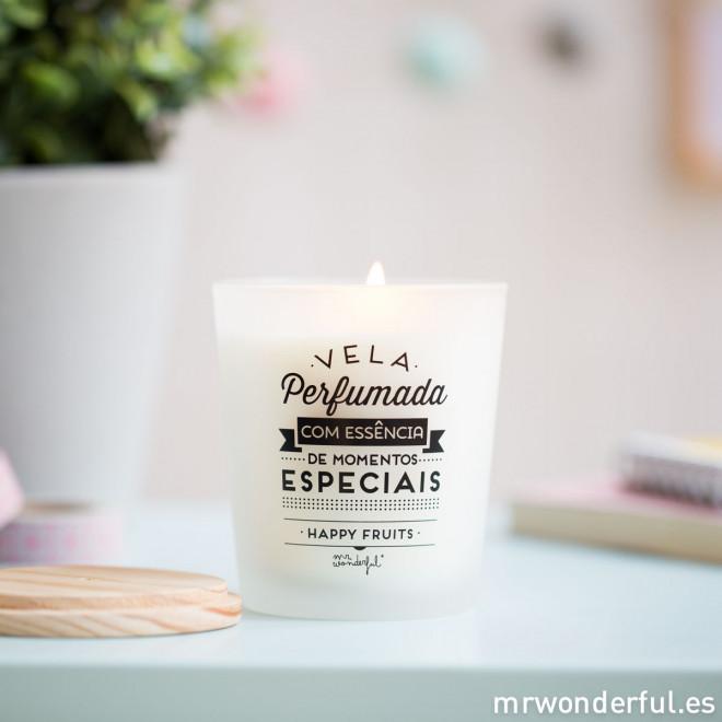 Vela perfumada com essência de momentos especiais