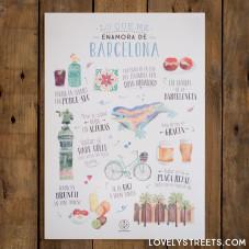 Póster Lovely Streets - Lo que me enamora de Barcelona