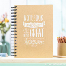 "Caderno kraft ""Superpowers great ideas"" (ENG)"