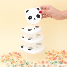 Conjunto de tupperwares infantis com forma de panda