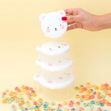 Conjunto de tupperwares infantis com forma de urso