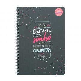 Caderno - Deita-te com um sonho e levanta-te com um objetivo