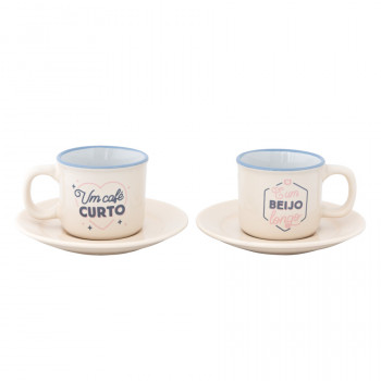 Conjunto de 2 chávenas de café expresso - Um beijo longo
