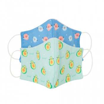 Pack de 2 mascarillas de tela Niño - Aguacates y planetas