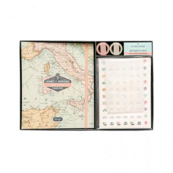 Kit scrapbooking álbum de viagem - Lugares e aventuras que nunca esquecerei