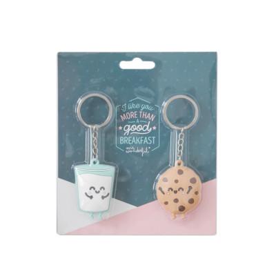 Conjunto de 2 porta-chaves copo de leite e bolacha para casais feitos um para o outro