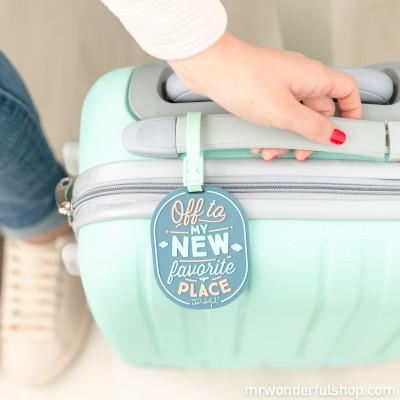 Etiqueta para bagagem - Off to my new favorite place (ENG)