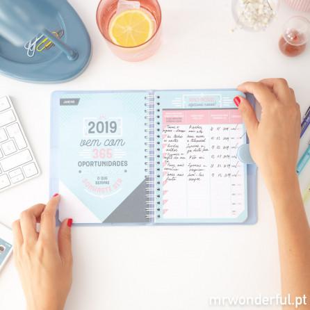 Agenda clássica pequena 2018-2019 Vista semanal - Tudo é possível com vontade e café (PT)